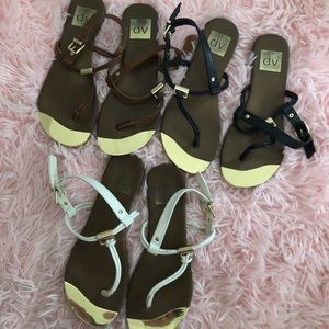 Lot of 3 Pairs of Gold Trimmed Dolce Vita Sandals